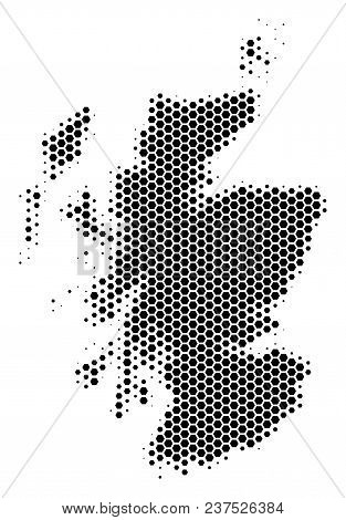 Halftone Hexagonal Scotland Map. Vector Geographical Map On A White Background. Vector Composition O
