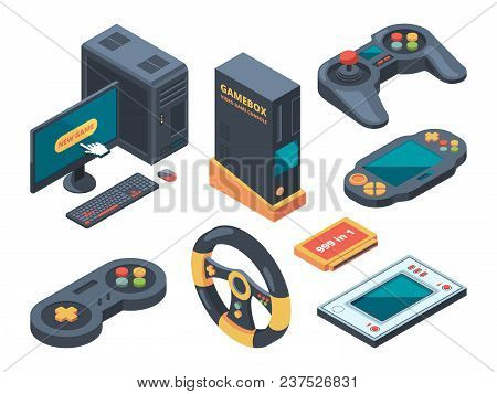 Console And Computer Systems And Gadgets For Gamers. Computer And Gadget Controller, Console Play, C