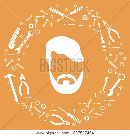Male And Different Tools For Building, Construction And Home Repair. Design For Banner And Print.