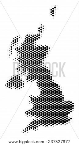 Halftone Hexagonal United Kingdom Map. Vector Geographic Map On A White Background. Vector Compositi