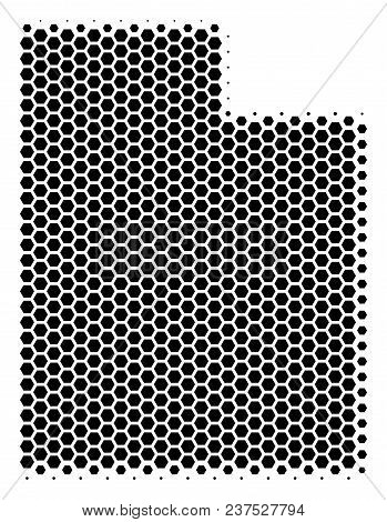 Halftone Hexagon Utah State Map. Vector Geographic Map On A White Background. Vector Composition Of