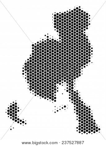Halftone Hexagonal Veraguas Province Map. Vector Geographic Map On A White Background. Vector Concep