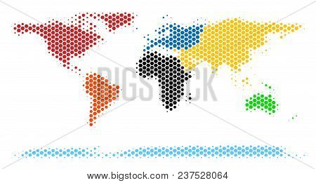 Halftone Hexagon World Continent Map. Vector Geographic Map On A White Background. Vector Mosaic Of
