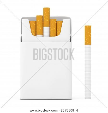 Cigarette Near Mockup Blank Cigarettes Pack On A White Background. 3d Rendering