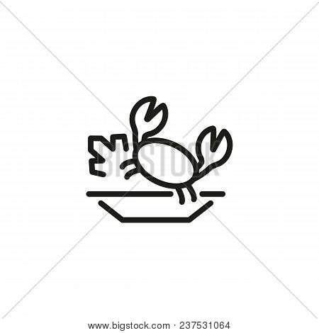 Line Icon Of Plate With Fresh Crab. Crab Meat, Seafood, Fried Crab. Dish Concept. For Topics Like Fo
