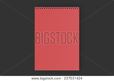 Blank Red Notebook With Metal Spiral Bound On Black Background. Business Or Education Mockup. 3d Ren