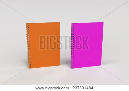 Two Notebooks With Spiral Bound On White Background