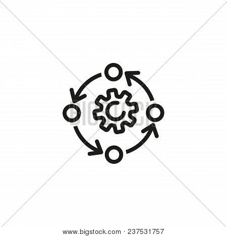 Rotating Line Icon. Gear, Reprocessing, Cycle. Processing Concept. Can Be Used For Topics Like Recyc