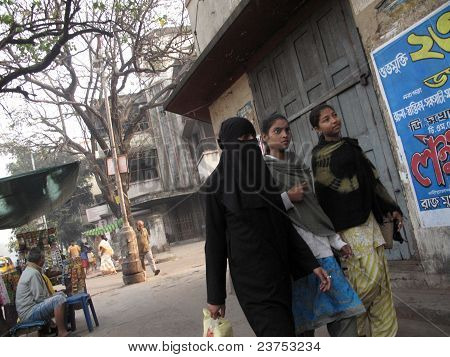 Streets Of Kolkata. Muslim Woman In Burkha