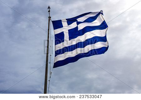Blue White Greek Flag Summit Acropolis Athens Greece. Cross Symbolizes Greek Orthordox Chritiianity,