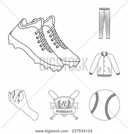 Baseball And Attributes Outline Icons In Set Collection For Design.baseball Player And Equipment Vec