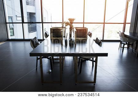 Empty Meeting Room,modern Office Interior Equipment And City View