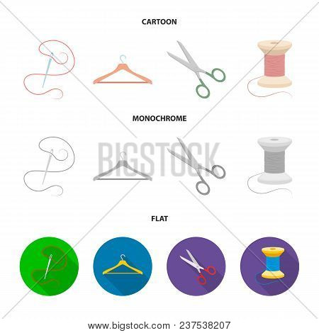 Thread, Reel, Hanger, Needle, Scissors.atelier Set Collection Icons In Cartoon, Flat, Monochrome Sty