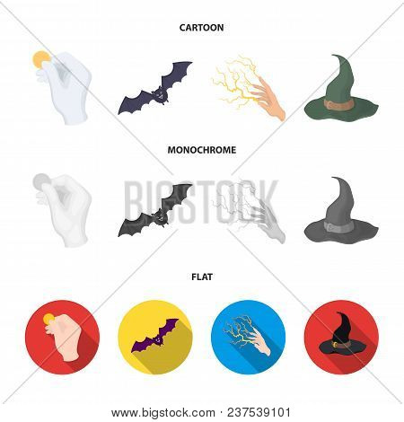 Focus With A Coin, A Bat, A Mage Hat, A Lightning Fast Spell.black And White Magic Set Collection Ic