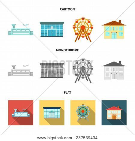 Airport, Bank, Residential Building, Ferris Wheel.building Set Collection Icons In Cartoon, Flat, Mo