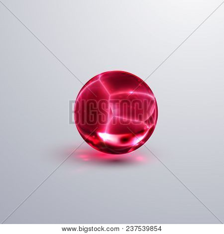 Glossy Cracked Crystal Sphere. Vector Illustration. Glossy Transparent Fractured Ball With Caustics