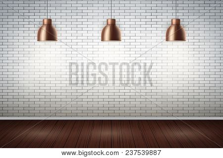 Interior Of White Brick Wall With Vintage Pedant Lamps And Wooden Floor. Vintage Rural Room And Fash