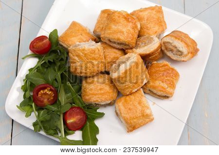 Sausage Rolls A Plate With A Selection Of Sausage Rolls