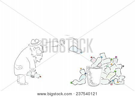 Vector Illustration Man Throws Plastic Bottles With Colored Lids Into A Crowded Dumpster / Global Po