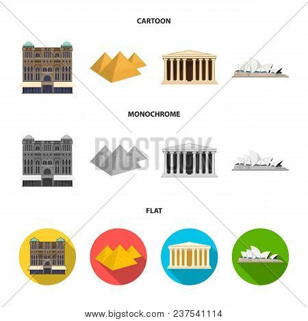 Sights Of Different Countries Cartoon, Flat, Monochrome Icons In Set Collection For Design. Famous B