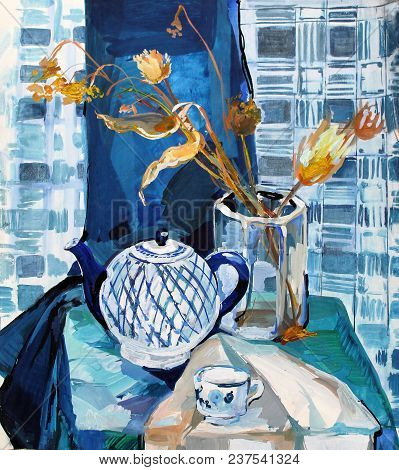 Still Life Gouache Color Painting The Kettle Dinnerware Blue, Dried Flowers