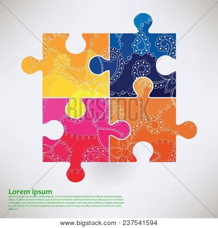 Background With Puzzle Symbol Of Autism Transition Colors Vector