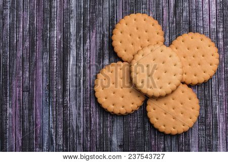 Cookies On Wooden Background. A Place For A Label. Place Of Text. Tea Biscuits. Coffee Biscuits. Use