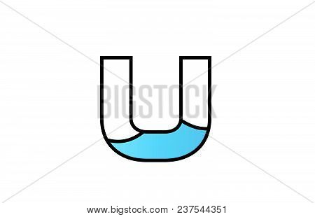 Alphabet Letter U Logo Design With Black Border And Blue Color Suitable For A Company Or Business