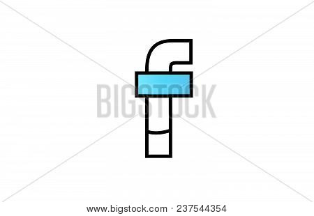 Alphabet Letter F Logo Design With Black Border And Blue Color Suitable For A Company Or Business