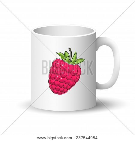 Cup Isolated On A White Background, Front View On A Mug With Berry Fruit Raspberries,  Illustration