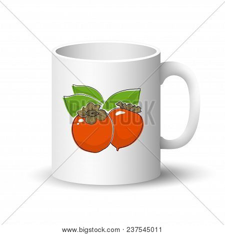 Cup Isolated On A White Background, Front View On A Mug With Fruit Orange Persimmon ,  Illustration