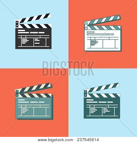 Set Of Simple Clapper Board Icon In Flat Style. The Concept Of Symbol Video Files. The Open Movie Cl