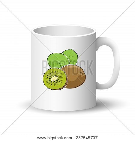 Cup Isolated On A White Background, Front View On A Mug With Tropical Fruit Kiwifruit , Vector Illus