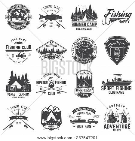 Set Of Fishing And Camping Club Badge. Vector Illustration. Concept For Shirt, Print, Stamp Or Tee.