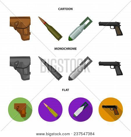 Holster, Cartridge, Air Bomb, Pistol. Military And Army Set Collection Icons In Cartoon, Flat, Monoc