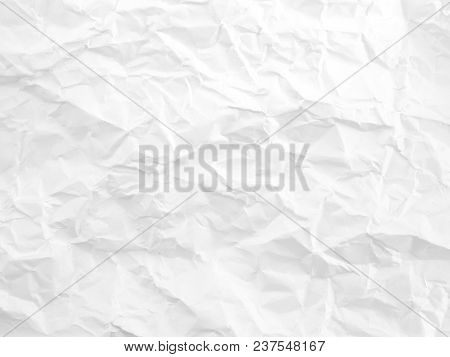 Close Up Wrinkled White Paper Texture, Creases Abstract Pattern Background