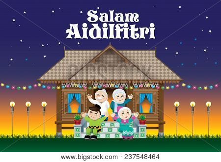 A Muslim Family Celebrating Raya Festival In Their Traditional Malay Style House. With Village Scene