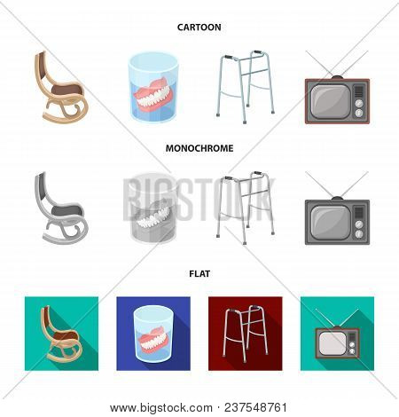 Denture, Rocking Chair, Walker, Old Tv.old Age Set Collection Icons In Cartoon, Flat, Monochrome Sty