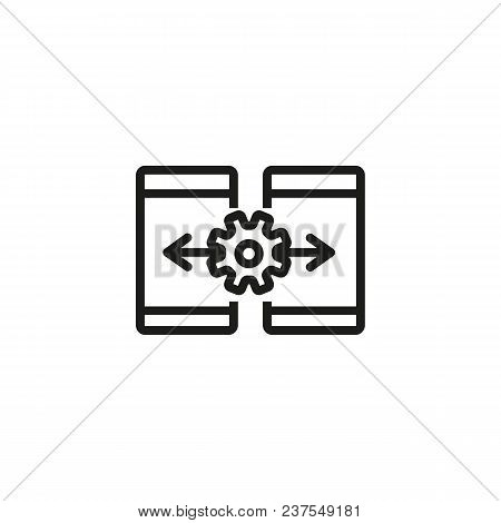 Smartphone Data Transfer Line Icon. Gear, Arrow, Exchange. Data Processing Concept. Can Be Used For