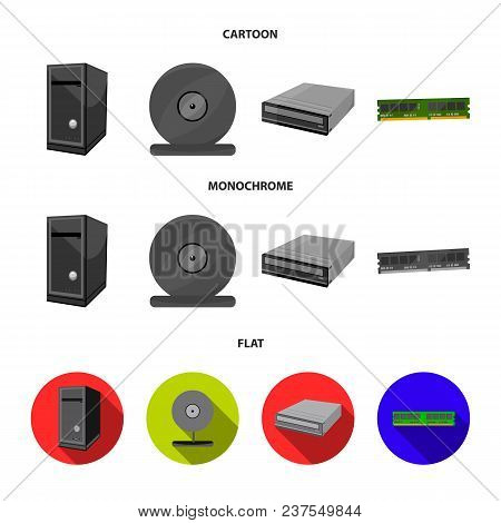 System Unit, Memory Card And Other Equipment. Personal Computer Set Collection Icons In Cartoon, Fla