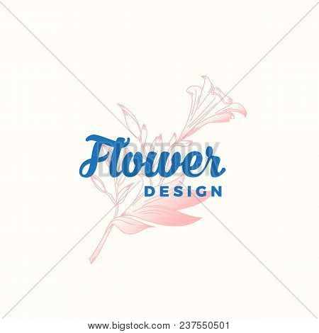 Flower Design Abstract Vector Sign, Symbol Or Logo Template. Hand Drawn Retro Lilly Illustration Wit