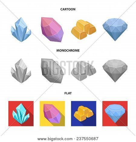 Crystals, Minerals, Gold Bars. Precious Minerals And Jeweler Set Collection Icons In Cartoon, Flat,
