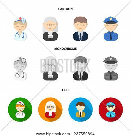 Doctor, Judge, Business, Police.profession Set Collection Icons In Cartoon, Flat, Monochrome Style V