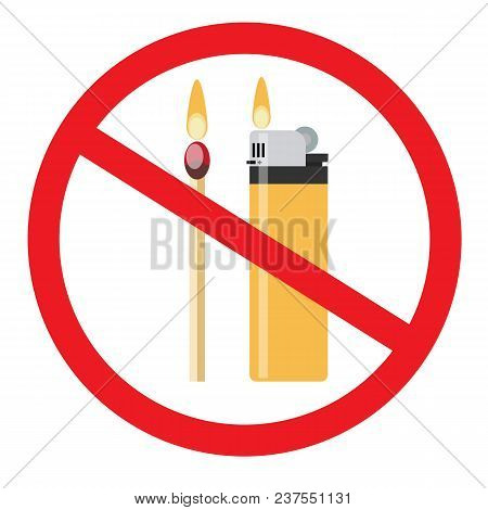 No Fire Vector Sign. Stock Flat Vector Illustration.