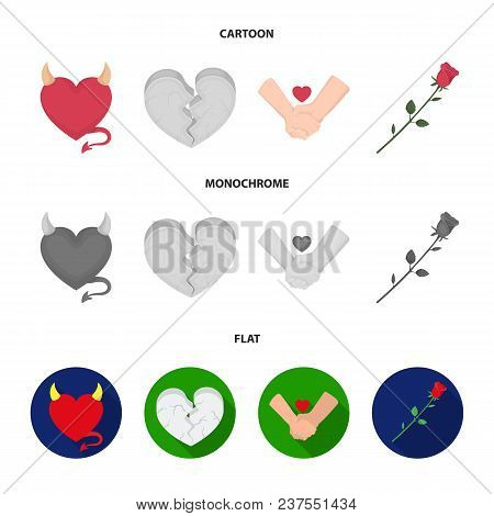Evil Heart, Broken Heart, Friendship, Rose. Romantic Set Collection Icons In Cartoon, Flat, Monochro