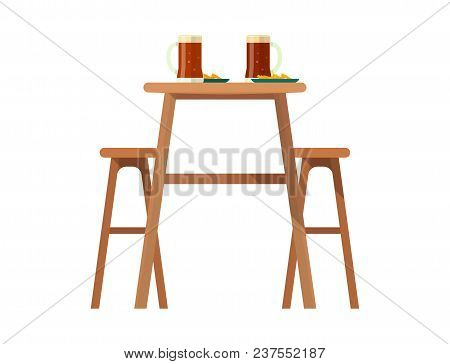 Beerhouse Furniture Vector Brewery Dining Furnishing Table And Chair With Beer Mug In Bar Or Pub On