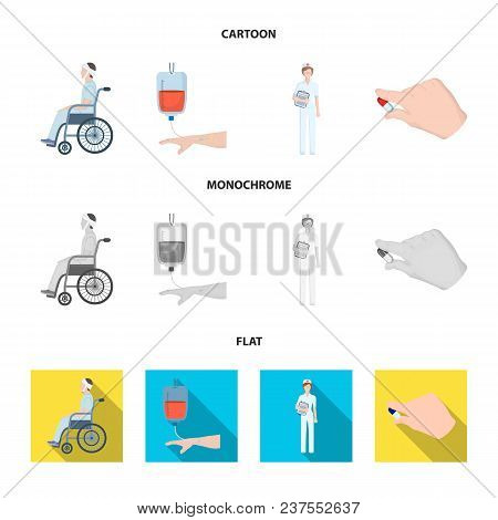 Invalid With Trauma, Blood Transfusion, Doctor, Medication In The Hands Of A Doctor. Medicineset Col