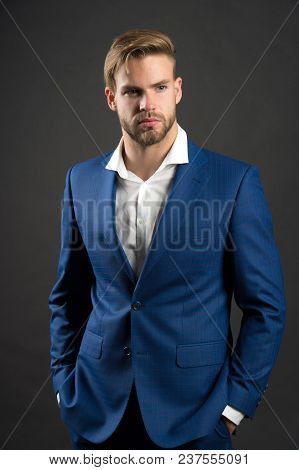 Fashion Man In Blue Suit Jacket And Shirt. Businessman With Bearded Face And Stylish Hair. Manager I