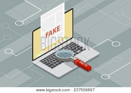 Fake News Or Fact Scanning With Magnifying Glass Vector Illustration