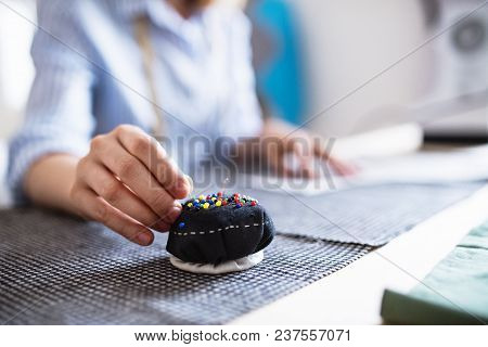 Unrecognizable Young Creative Woman Working In A Studio, Startup Business.